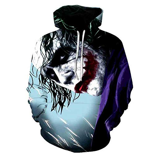 LONGFOFHUI Película De Terror It Chapter Two Sudaderas con Capucha con Estampado 3D Hombres Mujeres Moda Casual Funny Pullover It Clown Print Pattern Hoodies-Yw-1907_XXXL