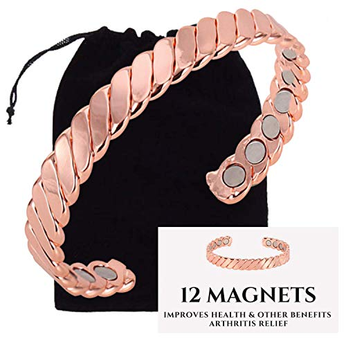 Authentic Copper Bracelet Twisted for Arthritis by VEDA - Guaranteed 99.9% Pure Copper Magnetic Bracelet for Men Women - 12 Powerful Magnets - Effective & Natural Relief of Joint Pain, Arthritis, RSI