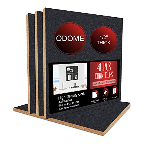 """ODOME Cork Board Tiles Self Adhesive 4 Pack(Black) 12""""X 12"""" – 1/2"""" Thick Cork Board – Bulletin Board - Memo Boards Pin Board - Cork Boards for Walls for Office Home Kitchen with 50 Push Pins"""