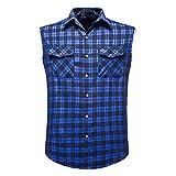Camisa de verano para hombre, informal, a la moda, sin mangas, a cuadros, camisa de ocio, de algodón, sin mangas azul M