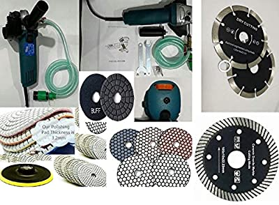 Variable Speed Wet Dry Polisher Cutter 14+2 Diamond wet and dry Polishing Pad stone concrete ceramic segmented turbo continuous cutting blade granite marble repair renew