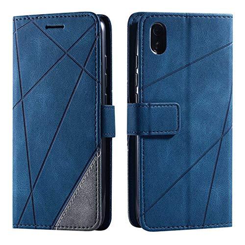 Hülle für Xiaomi Redmi 7A, SONWO Premium Leder PU Handyhülle Flip Hülle Wallet Silikon Bumper Schutzhülle Klapphülle für Xiaomi Redmi 7A, Blau