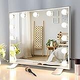 Espejo Tocador con Luz, Espejo Maquillaje Hollywood con 13 Bombillas LED, Gran Espejo Cosmético con 3 Modos de Color, Espejo de Maquillaje Profesional con Pantalla Táctil y Brillo Ajustable