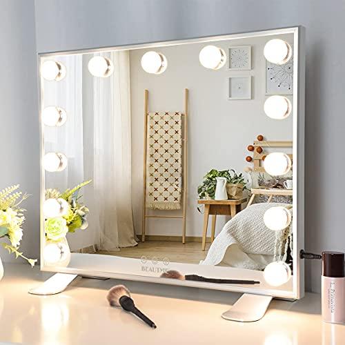 Gran Espejo Cosmético con 13 Bombillas LED, Espejo Cosmético Hollywood con 3 Modos de Color y Espejo Cosmético con Pantalla Táctil y Brillo Ajustable.