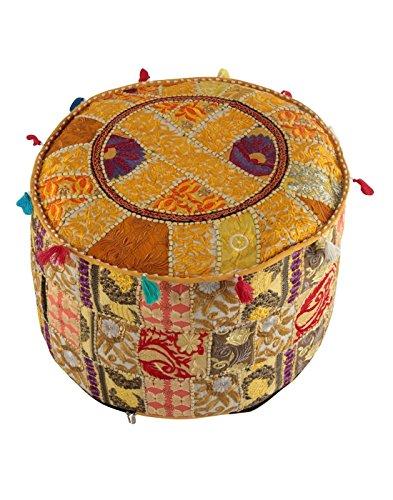 Indian Vintage OttomIndian Vintage Ottomaanse Poef Cover Hippie Woonkamer Decor Boho Decor Voet Krukje Cover,Decoratieve Handgemaakte Thuis Stoel Cover Designer Vloerkussen, Indian Bean Bag (alleen over
