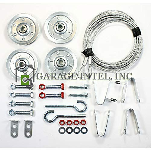 Garage Door Extension Spring Pulley and Safety Cable Kit Containment and Sheave