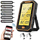AQSURE Bluetooth Meat Thermometer with 6 Temperature Probes, 300ft Wireless Premium Digital Food Thermometer for Smoker, Grill, Oven, Kitchen, Cooking, BBQ, Rechargeable Battery,Magnet, Timer, Alarm