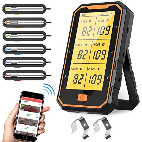 AQSURE Bluetooth Meat Thermometer with 6 Temperature Probes,...