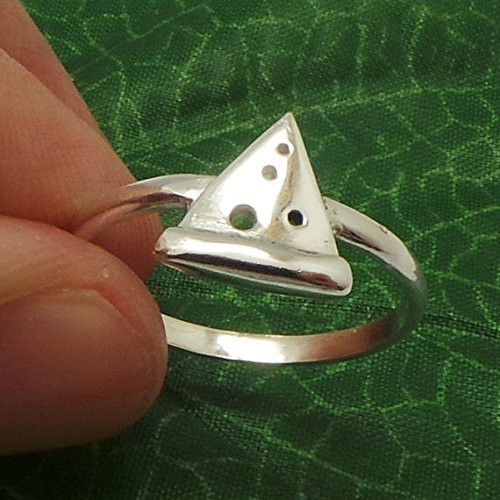 Handmade 925 Sterling Silver Cheese Pepperoni Pizza Lovers Friendship Food Ring