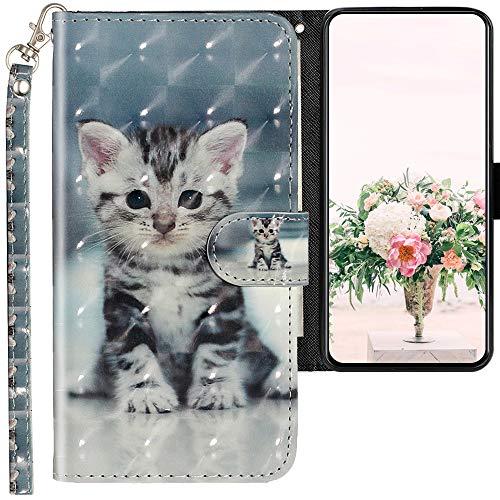 CLM-Tech Hülle kompatibel mit Oppo Reno 2Z - Tasche aus Kunstleder - Klapphülle mit Ständer und Kartenfächern, kleine Katze