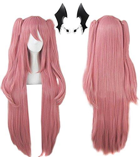 Anogol Headwear+Hair Cap+ Anime Cosplay Wigs Long Pink Hair Clip On Pony Synthetic Wig DM-460