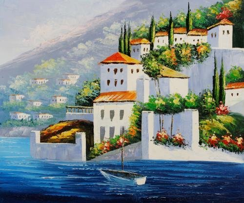 Real Hand Painted Italy at Dusk Canvas Oil Painting for Home Wall Art Decoration, Not a Print/ Giclee/ Poster, FRAMED, Ready to Hang