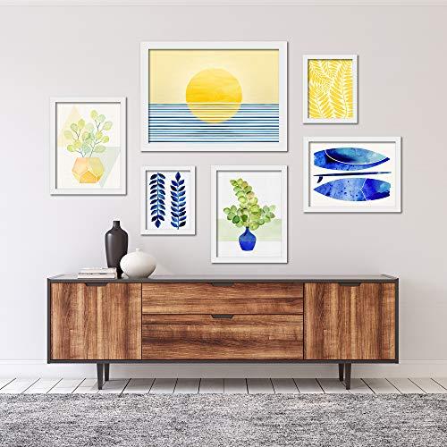 Americanflat 6 Piece White Framed Gallery Wall Art Set - Art Set 2 by Modern Tropical