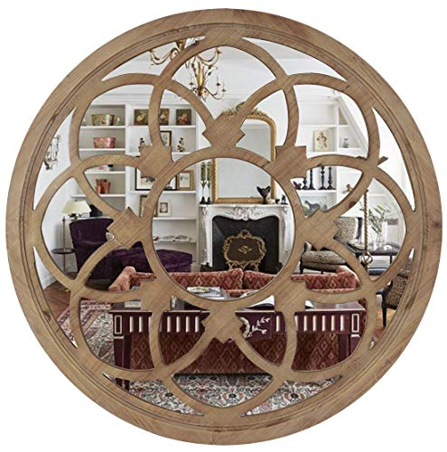 RiteSune Round 30 Inch Wall Mirror Decor, Rustic Wood Frame Mirrors for -