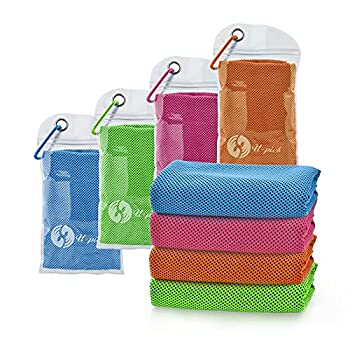 U-pick 4 Packs Cooling Towel  40 x 12  ,Ice Towel,Microfiber Towel,Soft Breathable Chilly Towel for Yoga,Sport,Gym,Workout,Camping,Fitness,Running,Workout & More Activities