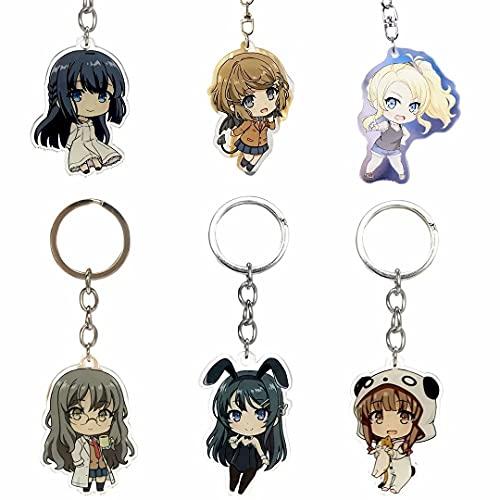 Sakurajima MAI Llavero, Anime Seishun Buta Yarou WA Bunny Girl Senpai Series Llavero de Cosplay, Paquete de 6 Lindos Llaveros de Anime para Niños Niñas Cumpleaños Halloween Regalos