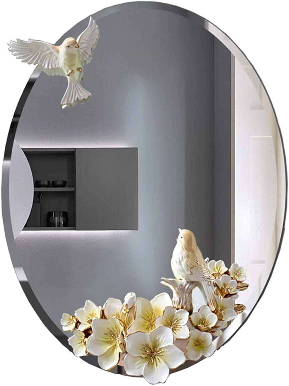 SYLJ Oval Bathroom Mirror Wall-Mounted 3D Relief, Bedroom Hotel Corridor Wall Beautification, European Anti-Fog Silver Mirror, Size 45  60cm
