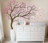 Adhesivo decorativo para pared de árbol grande, para pared, diseño de árbol, color marrón, rosa, blanco