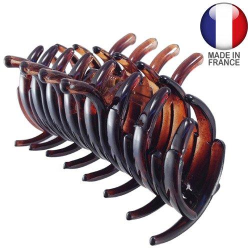 294-003 – Pince à cheveux française tubulaire 9 cm couleur tortue – Pince à cheveux