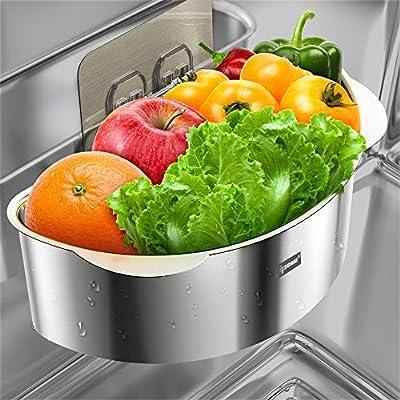 Sink Strainer Basket, IPOW Sink Caddy Organizer Stainless Steel Kitchen Sink Sponge Holder No Drilling Multifunctional Drain Shelf Sink Storage Holder with 2 PC Adhesive for Kitchen Bathroom