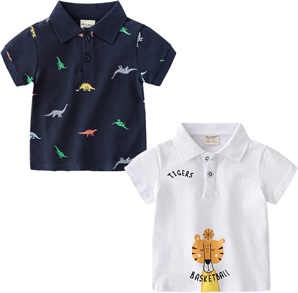 CesAnnees Kids Toddler Boys Classic Polo Shirt Cotton Dinosaur Printed 2 Pack Short Sleeve T-Shirts 2-6 Years