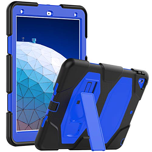 SEYMCY Case for iPad Air 10.5' (3rd Gen) 2019, iPad Pro 10.5' 2017 Case, Stable Stand Cover, Protective Kids Friendly Silicone Case for iPad Air 3/iPad Pro 10.5, Black/Blue