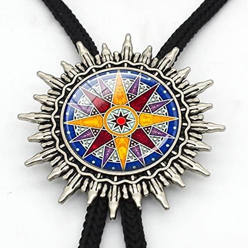 Wuyuana Bolo tie Bolo - Brújula colgante de bolo, brújula, corbata de brújula, joyería náutica, diseño de rosas, lazo de metal para regalo para hombre (color: 1)