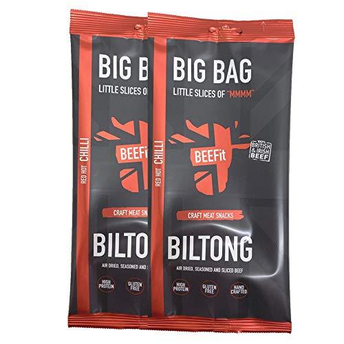 BEEFit Snacks 500g (2x250g) Chili Biltong, Hohes Protein, Gesund, Wenig Zucker, Nicht Beef Jerky