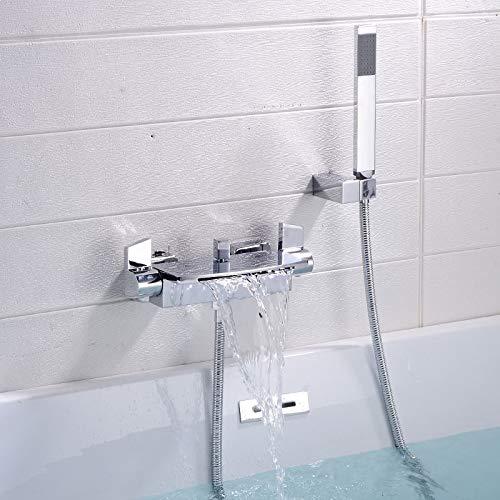 Grifo Juego de ducha para bañera Grifo de baño en cascada montado en la pared, Baño Grifo mezclador de bañera fría y caliente Latón Cromo/Dorado/Negro/Blanco