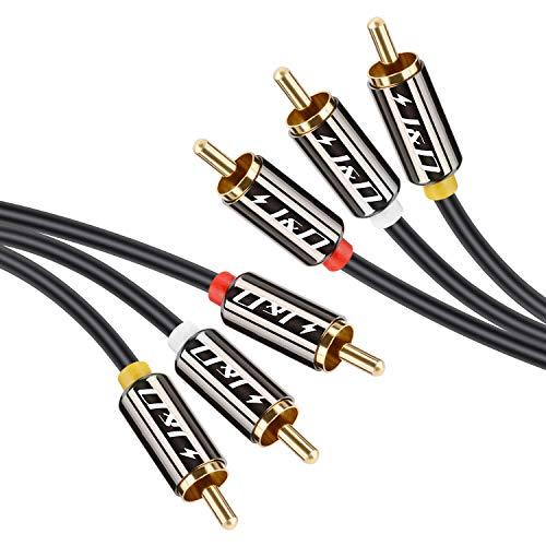 J&D Cable 3RCA, Cable de Audio y Vídeo Compuesto estéreo, Chapado en Oro 3 RCA Macho a 3 RCA Macho Cable de Audio Estéreo, 1 Meter