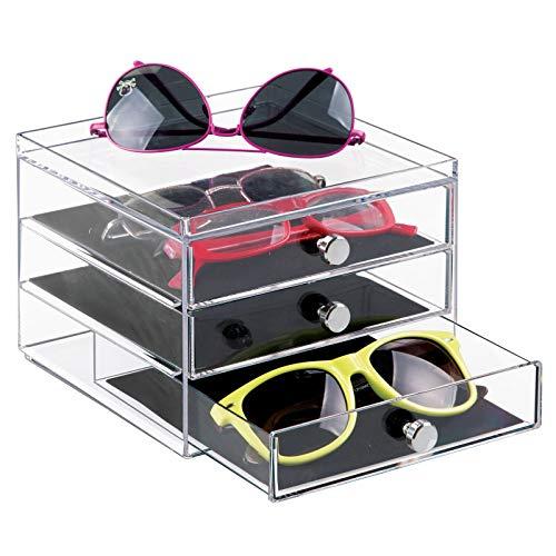 mDesign Caja para Gafas y Gafas de Sol – Preciosa cajonera para Proteger y Guardar Gafas - Práctico Organizador de Gafas con 3 cajones - Plástico Transparente con Tiradores cromados