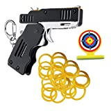 Syfinee 2020 Creative All Metal Mini Folding Rubber Band Gun Outdoor Sport Toy Keychain Kid Children,Blue, Black, Green, Yellow and Red