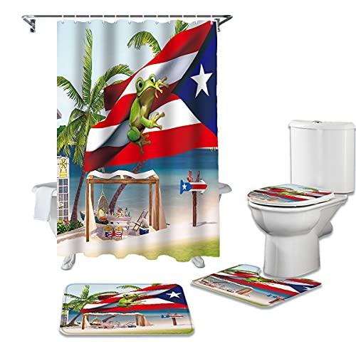 YNYEZBH Duschvorhang 4-teiliges Set Palm Tree Flag Frog Beach Toilettenbezug Badematte rutschfeste wasserdichte Duschvorhang Badezimmerdekoration