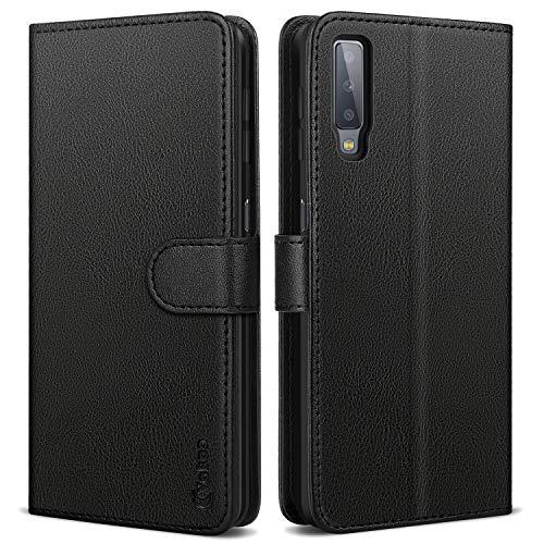 Vakoo Wallet Serie Handyhülle für Samsung Galaxy A7 2018 Hülle, Schwarz