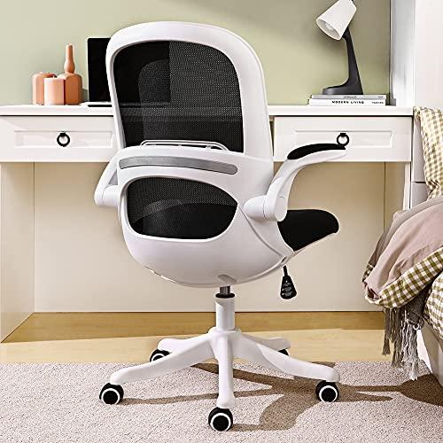BERLMAN 椅子 オフィスチェア デスクチェア 跳ね上げ式アームレスト メッシュ パソコン 人間工学 コンパクト 120度ロッキング 360度回転 座面昇降 静音PUキャスター ワークチェア 組立簡単 (ホワイト×ブラック)