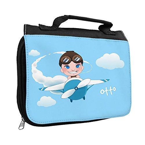 Kulturbeutel mit Namen Otto und schönem Motiv mit Flugzeug und Pilot für Jungen | Kulturtasche mit Vornamen | Waschtasche für Kinder