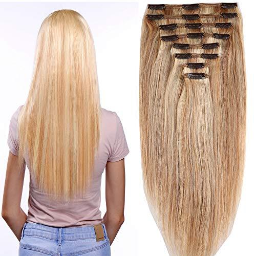 Clip in Extensions Set 100% Remy Echthaar 8 Teilig Haarverlängerung dick Dopplet Tressen Clip-In Hair Extension (25cm-110g,#18/613 Light Aschblond/Weißblond)