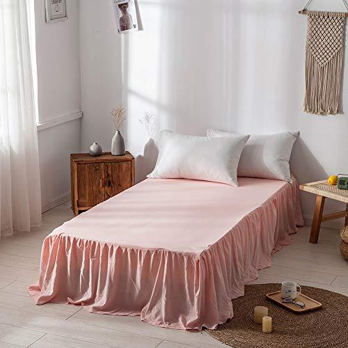 DOMDIL- Spannbettlaken,Ultra weicher, gekräuselter Bettrock aus reinem Polyesterfaser, 150 x 200 cm, 45 cm Tropfen, Rosa
