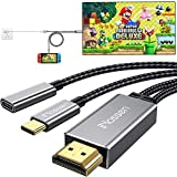 USB C to HDMI Cable for Nintendo Switch, iNassen 6ft 4K@60Hz Type-C HDMI Female Adapter with 60W PD Powering Cable Thunderbolt 3 Compatible with MacBook Pro,iPad Pro,Pixel Book,XPS,Galaxy and More