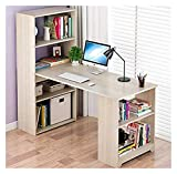<span class='highlight'><span class='highlight'>Yyl</span></span> L Shape Office Computer Desk with Bookcase Storage Shelves Study Workstation Corner Computer Desk, L120x W45 x H120cm, Warm White