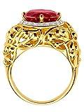 KLiNGEL Herren 925 Silber Ring mit Synthetischer Rubin in Rot