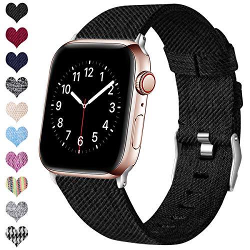 Ouwegaga Kompatibel mit Apple Watch Armband 38mm 40mm 42mm 44mm, Ersatzgewebe Band Nylon Armband Kompatibel mit iWatch Serie 5 4 3 2 1, Schwarz 42mm/44mm