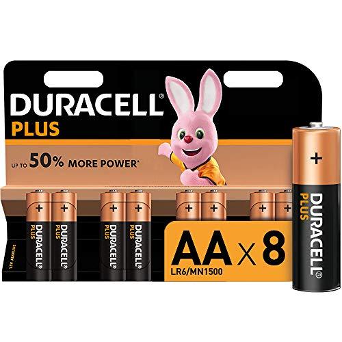 Duracell Plus AA, Batterie Stilo Alcaline, Confezione da 8 Pacco del Produttore, 1.5 volt LR06 MX1500 (il Design della Confezione Potrebbe Variare)