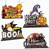 Ornamenti In Legno Di Halloween 4Pcs Halloween Decorazione Desktop Di...