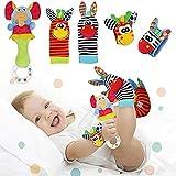 Synchain Baby Rasseln Spielzeug,Baby Rasseln Handgelenk Und Socken Spielzeug,Süße Tierbabys Entwicklungsspielzeug Puppen für Neugeborene 0-12 Monate Babys Mädchen und Jungen Geschenk 5 PCS