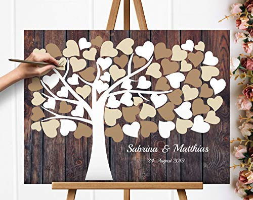 Leinwanddruck-Gästebuch Hochzeitsbaum Wedding tree Gästebuch Leinwanddruck Hochzeitsgästebuch auf Keilrahmen Hochzeitsgeschenk
