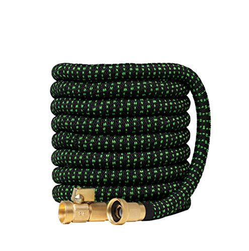 Garden Hose Expandable Garden Hoses - by Green Friendly Home Expanding Flexible Strongest Water Hose Multi Latex Core + Fabric, Solid Brass Fittings (BlackG 50ft)