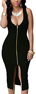 YMING Women Sexy Front Zipper Bodycon Bandage Midi Evening Dress Plus Size S-4XL