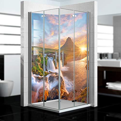 dedeco Eck-Duschrückwand wasserfest mit Wasserfall V10 Motiv - 2 x 90x200 cm - Badrückwand Fliesenersatz, für viele Bäder als Dekorwand, Wandverkleidung, Duschplatte aus hochwertigem Aluminium