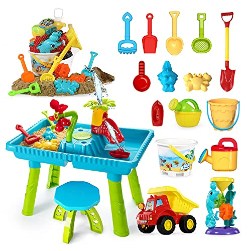 TEMI Kids Sand and Water Table with Beach Sand Toys Set Activity Table Sandbox Toy Sensory Table Outdoor Toy Beach Play Table 38 Pcs Accessories for Kids Toddlers Children